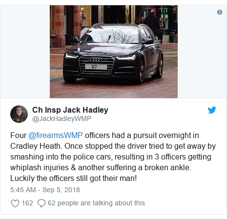 Twitter post by @JackHadleyWMP: Four @firearmsWMP officers had a pursuit overnight in Cradley Heath. Once stopped the driver tried to get away by smashing into the police cars, resulting in 3 officers getting whiplash injuries & another suffering a broken ankle. Luckily the officers still got their man!