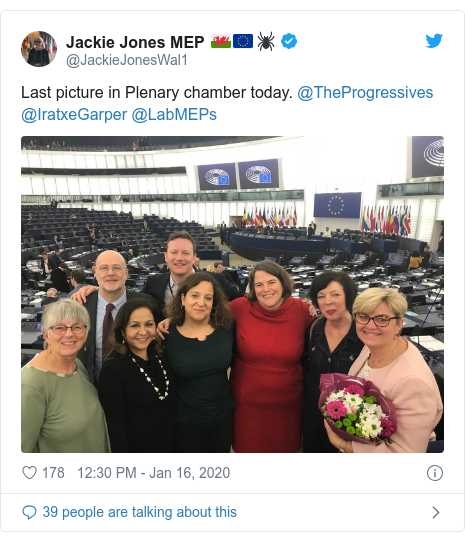 Twitter post by @JackieJonesWal1: Last picture in Plenary chamber today. @TheProgressives @IratxeGarper @LabMEPs