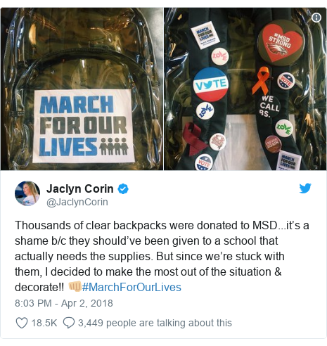 Twitter post by @JaclynCorin: Thousands of clear backpacks were donated to MSD...it's a shame b/c they should've been given to a school that actually needs the supplies. But since we're stuck with them, I decided to make the most out of the situation & decorate!! 👊🏼#MarchForOurLives