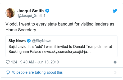 Twitter post by @Jacqui_Smith1: V odd. I went to every state banquet for visiting leaders as Home Secretary