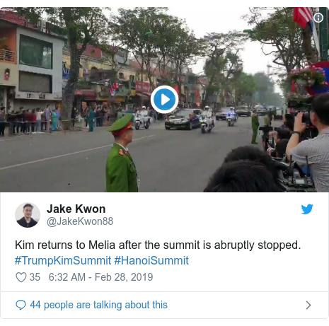 Twitter post by @JakeKwon88: Kim returns to Melia after the summit is abruptly stopped. #TrumpKimSummit #HanoiSummit