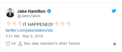 Twitter post by @JakesTakes: 👇🏻👇🏻👇🏻IT HAPPENED! 👇🏻👇🏻👇🏻