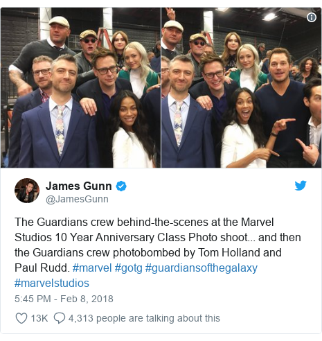 Twitter post by @JamesGunn: The Guardians crew behind-the-scenes at the Marvel Studios 10 Year Anniversary Class Photo shoot... and then the Guardians crew photobombed by Tom Holland and Paul Rudd. #marvel #gotg #guardiansofthegalaxy #marvelstudios