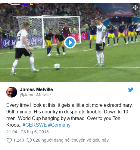 Twitter bởi @JamesMelville: Every time I look at this, it gets a little bit more extraordinary. 95th minute. His country in desperate trouble. Down to 10 men. World Cup hanging by a thread. Over to you Toni Kroos...#GERSWE #Germany