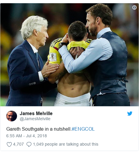 Twitter post by @JamesMelville: Gareth Southgate in a nutshell.#ENGCOL