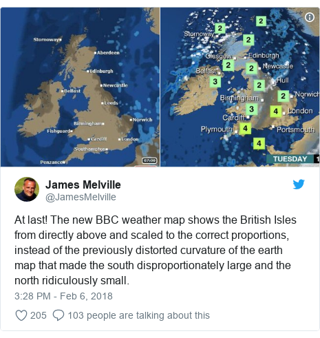 Twitter post by @JamesMelville: At last! The new BBC weather map shows the British Isles from directly above and scaled to the correct proportions, instead of the previously distorted curvature of the earth map that made the south disproportionately large and the north ridiculously small.