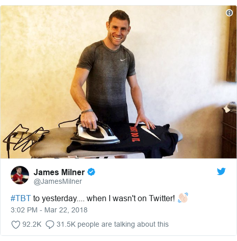 Twitter post by @JamesMilner: #TBT to yesterday.... when I wasn't on Twitter! 👋🏻