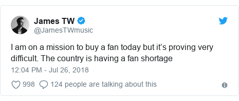 Twitter post by @JamesTWmusic: I am on a mission to buy a fan today but it's proving very difficult. The country is having a fan shortage