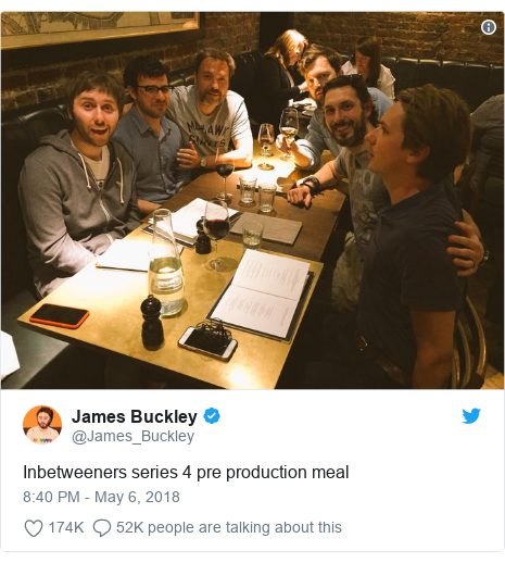 Twitter post by @James_Buckley: Inbetweeners series 4 pre production meal
