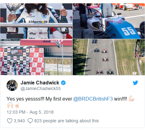 Twitter post by @JamieChadwick55: Yes yes yessss!!! My first ever @BRDCBritishF3 win!!!! 💪🏻🙌🏻☝🏻