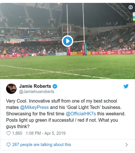 Twitter post by @Jamiehuwroberts: Very Cool. Innovative stuff from one of my best school mates @MikeyPress and his 'Goal Light Tech' business. Showcasing for the first time @OfficialHK7s this weekend. Posts light up green if successful / red if not. What you guys think?