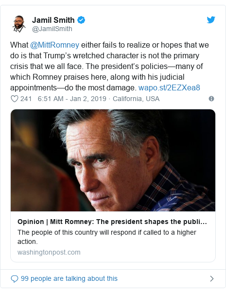 Twitter post by @JamilSmith: What @MittRomney either fails to realize or hopes that we do is that Trump's wretched character is not the primary crisis that we all face. The president's policies—many of which Romney praises here, along with his judicial appointments—do the most damage.