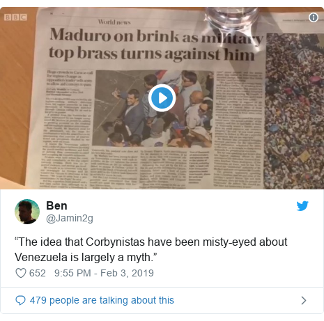 "Twitter post by @Jamin2g: ""The idea that Corbynistas have been misty-eyed about Venezuela is largely a myth."""