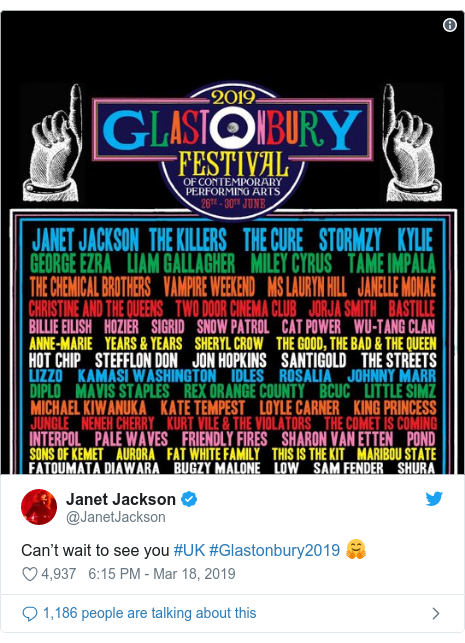 Twitter post by @JanetJackson: Can't wait to see you #UK #Glastonbury2019 🤗