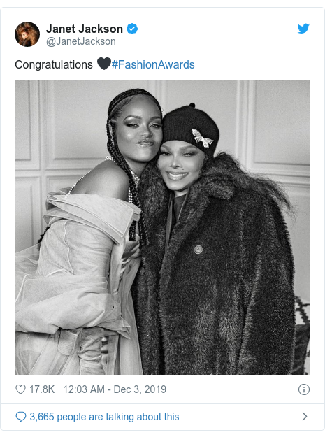 Twitter post by @JanetJackson: Congratulations 🖤#FashionAwards