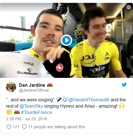 """Twitter post by @JardineOfficial: """"...and we were singing"""" 🎤🎶@GeraintThomas86 and the rest of @TeamSky singing Hymns and Arias - amazing! 🙌👏 🏴 #TourdeFrance"""
