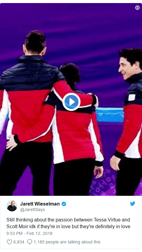 Twitter post by @JarettSays: Still thinking about the passion between Tessa Virtue and Scott Moir idk if they're in love but they're definitely in love