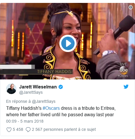Twitter publication par @JarettSays: Tiffany Haddish's #Oscars dress is a tribute to Eritrea, where her father lived until he passed away last year