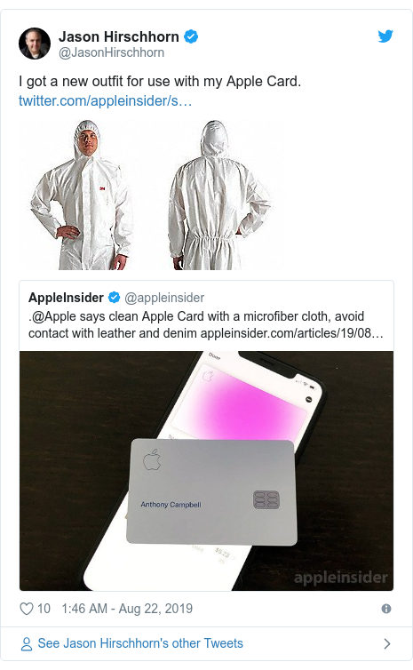 Twitter post by @JasonHirschhorn: I got a new outfit for use with my Apple Card.