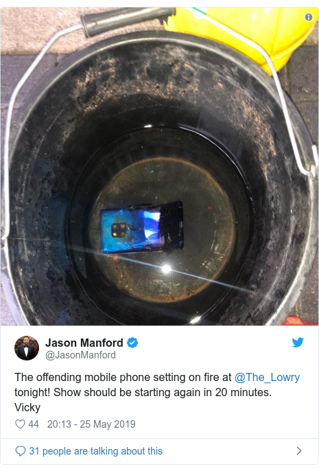 Twitter post by @JasonManford: The offending mobile phone setting on fire at @The_Lowry tonight! Show should be starting again in 20 minutes. Vicky
