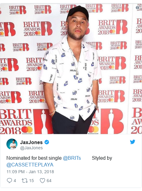 Twitter post by @JaxJones: Nominated for best single @BRITs         Styled by @CASSETTEPLAYA