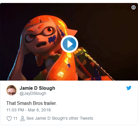 Twitter post by @JayDSlough: That Smash Bros trailer.