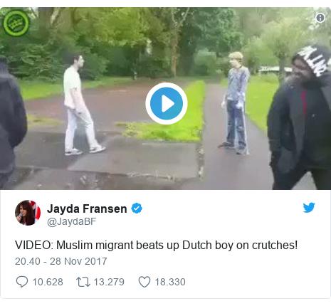 Twitter pesan oleh @JaydaBF: VIDEO  Muslim migrant beats up Dutch boy on crutches!