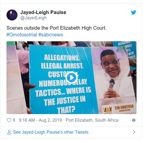 Twitter post by @JayedLeigh: Scenes outside the Port Elizabeth High Court. #Omotosotrial #sabcnews