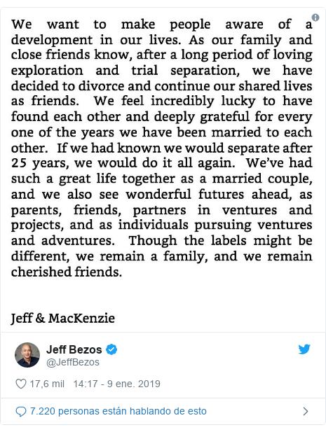 Publicación de Twitter por @JeffBezos: