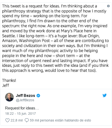 Publicación de Twitter por @JeffBezos: Request for ideas…