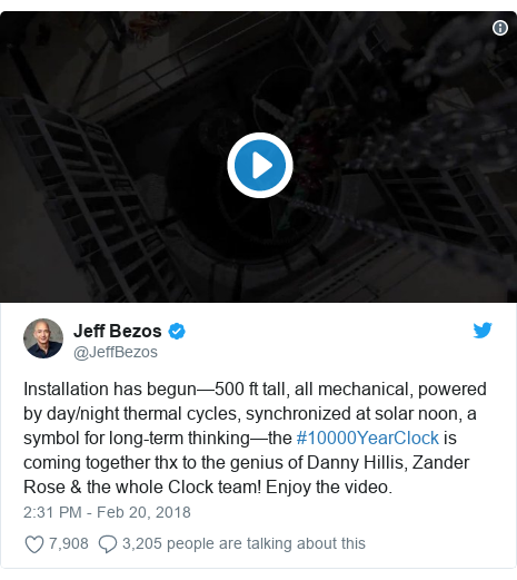Twitter post by @JeffBezos: Installation has begun—500 ft tall, all mechanical, powered by day/night thermal cycles, synchronized at solar noon, a symbol for long-term thinking—the #10000YearClock is coming together thx to the genius of Danny Hillis, Zander Rose & the whole Clock team! Enjoy the video.