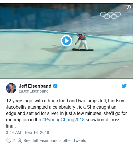 Twitter post by @JeffEisenband: 12 years ago, with a huge lead and two jumps left, Lindsey Jacobellis attempted a celebratory trick. She caught an edge and settled for silver. In just a few minutes, she'll go for redemption in the #PyeongChang2018 snowboard cross final.
