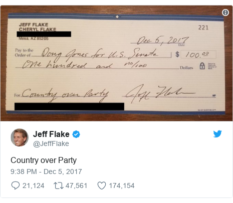 Twitter post by @JeffFlake: Country over Party