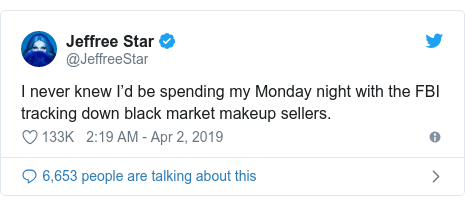 Twitter post by @JeffreeStar: I never knew I'd be spending my Monday night with the FBI tracking down black market makeup sellers.
