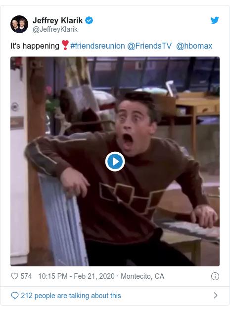 Twitter post by @JeffreyKlarik: It's happening❣️#friendsreunion @FriendsTV  @hbomax