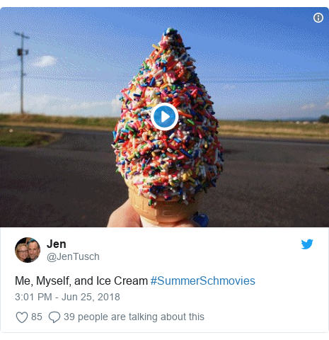 Twitter post by @JenTusch: Me, Myself, and Ice Cream #SummerSchmovies