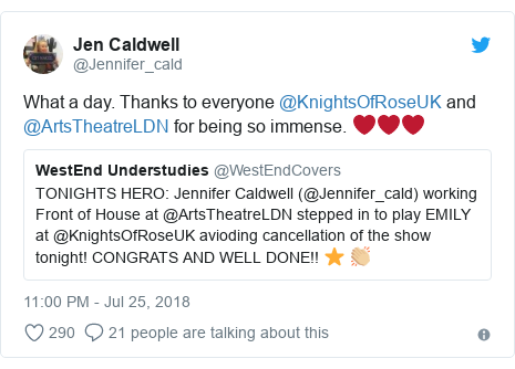 Twitter post by @Jennifer_cald: What a day. Thanks to everyone @KnightsOfRoseUK and @ArtsTheatreLDN for being so immense. ❤️❤️❤️