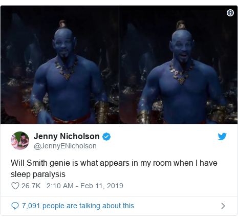 Twitter post by @JennyENicholson: Will Smith genie is what appears in my room when I have sleep paralysis