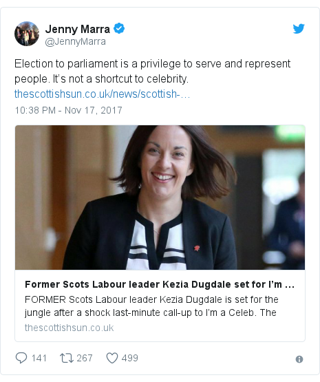 Twitter post by @JennyMarra: Election to parliament is a privilege to serve and represent people. It's not a shortcut to celebrity.