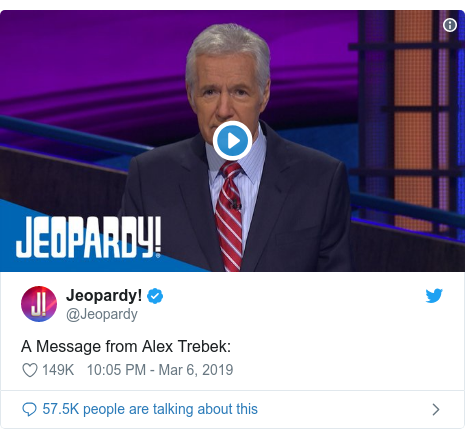 Twitter post by @Jeopardy: A Message from Alex Trebek