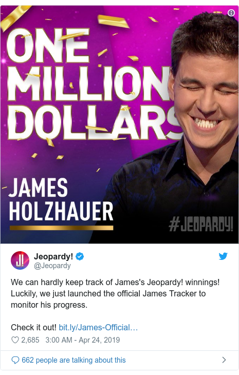 Twitter post by @Jeopardy: We can hardly keep track of James's Jeopardy! winnings! Luckily, we just launched the official James Tracker to monitor his progress. Check it out!