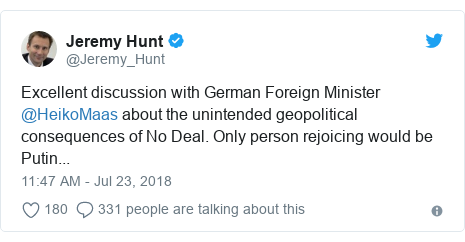 Twitter post by @Jeremy_Hunt: Excellent discussion with German Foreign Minister @HeikoMaas about the unintended geopolitical consequences of No Deal. Only person rejoicing would be Putin...