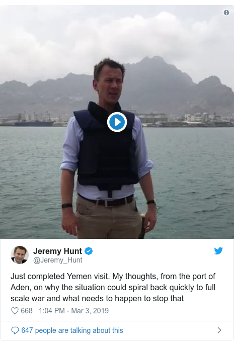 Twitter post by @Jeremy_Hunt: Just completed Yemen visit. My thoughts, from the port of Aden, on why the situation could spiral back quickly to full scale war and what needs to happen to stop that