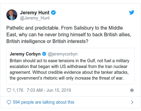 Twitter post by @Jeremy_Hunt: Pathetic and predictable. From Salisbury to the Middle East, why can he never bring himself to back British allies, British intelligence or British interests?