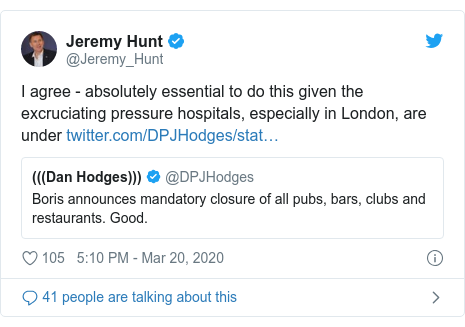 Twitter post by @Jeremy_Hunt: I agree - absolutely essential to do this given the excruciating pressure hospitals, especially in London, are under