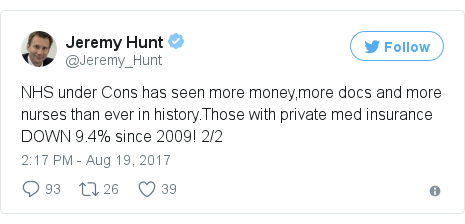 Twitter post by @Jeremy_Hunt