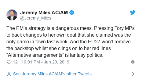 """Twitter post by @Jeremy_Miles: The PM's strategy is a dangerous mess. Pressing Tory MPs to back changes to her own deal that she claimed was the only game in town last week. And the EU27 won't remove the backstop whilst she clings on to her red lines. """"Alternative arrangements"""" is fantasy politics."""