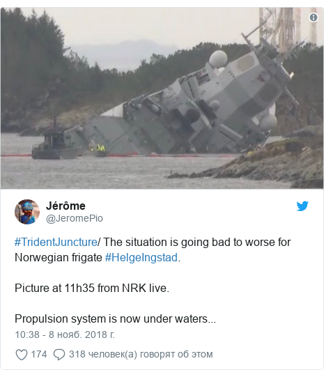 Twitter пост, автор: @JeromePio: #TridentJuncture/ The situation is going bad to worse for Norwegian frigate #HelgeIngstad.Picture at 11h35 from NRK live.Propulsion system is now under waters...