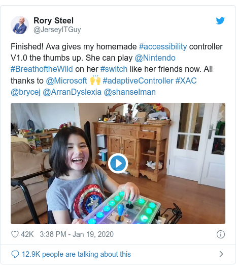 Twitter post by @JerseyITGuy: Finished! Ava gives my homemade #accessibility controller V1.0 the thumbs up. She can play @Nintendo #BreathoftheWild on her #switch like her friends now. All thanks to @Microsoft 🙌 #adaptiveController #XAC @brycej @ArranDyslexia @shanselman
