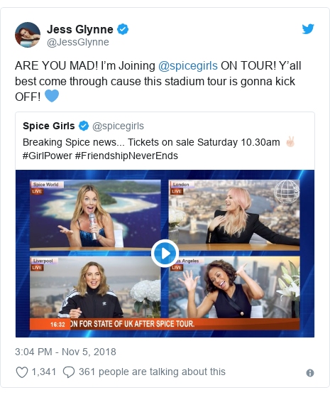 Twitter post by @JessGlynne: ARE YOU MAD! I'm Joining @spicegirls ON TOUR! Y'all best come through cause this stadium tour is gonna kick OFF! 💙